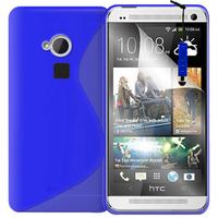 HTC One Max/ Dual Sim: Accessoire Housse Etui Pochette Coque S silicone gel + mini Stylet - BLEU
