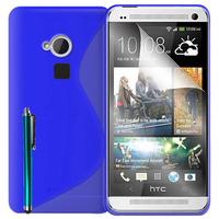 HTC One Max/ Dual Sim: Accessoire Housse Etui Pochette Coque S silicone gel + Stylet - BLEU