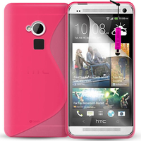 HTC One Max/ Dual Sim: Accessoire Housse Etui Pochette Coque S silicone gel + mini Stylet - ROSE