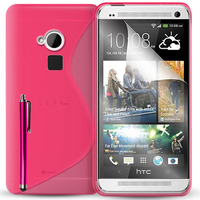 HTC One Max/ Dual Sim: Accessoire Housse Etui Pochette Coque S silicone gel + Stylet - ROSE