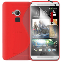 HTC One Max/ Dual Sim: Accessoire Housse Etui Pochette Coque S silicone gel + mini Stylet - ROUGE