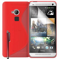 HTC One Max/ Dual Sim: Accessoire Housse Etui Pochette Coque S silicone gel + Stylet - ROUGE