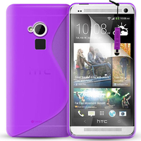 HTC One Max/ Dual Sim: Accessoire Housse Etui Pochette Coque S silicone gel + mini Stylet - VIOLET