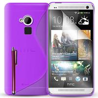 HTC One Max/ Dual Sim: Accessoire Housse Etui Pochette Coque S silicone gel + Stylet - VIOLET