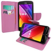 Asus Zenfone 2 ZE500CL/ Zenfone 2E: Accessoire Etui portefeuille Livre Housse Coque Pochette support vidéo cuir PU effet tissu - VIOLET