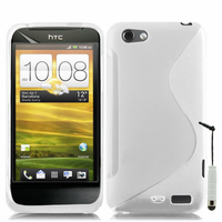 HTC One S/ Special Edition: Accessoire Housse Etui Pochette Coque S silicone gel + mini Stylet - BLANC