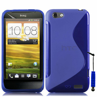 HTC One S/ Special Edition: Accessoire Housse Etui Pochette Coque S silicone gel + mini Stylet - BLEU