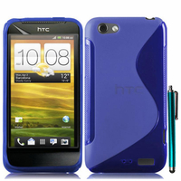 HTC One S/ Special Edition: Accessoire Housse Etui Pochette Coque S silicone gel + Stylet - BLEU