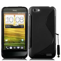 HTC One S/ Special Edition: Accessoire Housse Etui Pochette Coque S silicone gel + mini Stylet - NOIR