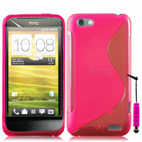 HTC One S/ Special Edition: Accessoire Housse Etui Pochette Coque S silicone gel + mini Stylet - ROSE