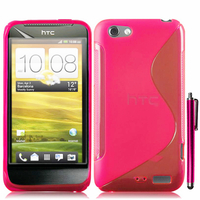 HTC One S/ Special Edition: Accessoire Housse Etui Pochette Coque S silicone gel + Stylet - ROSE