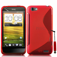 HTC One S/ Special Edition: Accessoire Housse Etui Pochette Coque S silicone gel + mini Stylet - ROUGE