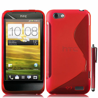 HTC One S/ Special Edition: Accessoire Housse Etui Pochette Coque S silicone gel + Stylet - ROUGE