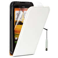HTC One S/ Special Edition: Accessoire Housse coque etui cuir fine slim + mini Stylet - BLANC
