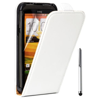 HTC One S/ Special Edition: Accessoire Housse coque etui cuir fine slim + Stylet - BLANC