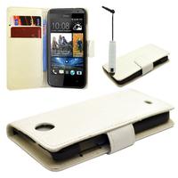 HTC Desire 500/ Dual Sim: Accessoire Etui portefeuille Livre Housse Coque Pochette cuir PU + mini Stylet - BLANC