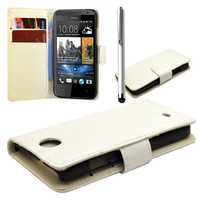 HTC Desire 500/ Dual Sim: Accessoire Etui portefeuille Livre Housse Coque Pochette cuir PU + Stylet - BLANC