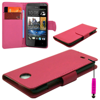 HTC Desire 500/ Dual Sim: Accessoire Etui portefeuille Livre Housse Coque Pochette cuir PU + mini Stylet - ROSE