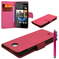 HTC Desire 500/ Dual Sim: Accessoire Etui portefeuille Livre Housse Coque Pochette cuir PU + Stylet - ROSE