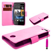 HTC Desire 500/ Dual Sim: Accessoire Etui portefeuille Livre Housse Coque Pochette cuir PU + mini Stylet - ROSE-PALE