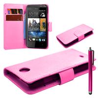 HTC Desire 500/ Dual Sim: Accessoire Etui portefeuille Livre Housse Coque Pochette cuir PU + Stylet - ROSE-PALE