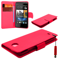 HTC Desire 500/ Dual Sim: Accessoire Etui portefeuille Livre Housse Coque Pochette cuir PU + mini Stylet - ROUGE
