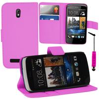 HTC Desire 500/ Dual Sim: Accessoire Etui portefeuille Livre Housse Coque Pochette support vidéo cuir PU + mini Stylet - ROSE