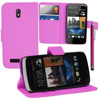 HTC Desire 500/ Dual Sim: Accessoire Etui portefeuille Livre Housse Coque Pochette support vidéo cuir PU + Stylet - ROSE