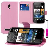 HTC Desire 500/ Dual Sim: Accessoire Etui portefeuille Livre Housse Coque Pochette support vidéo cuir PU + mini Stylet - ROSE-PALE