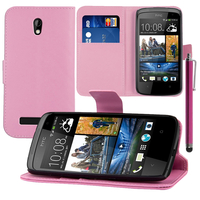 HTC Desire 500/ Dual Sim: Accessoire Etui portefeuille Livre Housse Coque Pochette support vidéo cuir PU + Stylet - ROSE-PALE