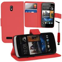 HTC Desire 500/ Dual Sim: Accessoire Etui portefeuille Livre Housse Coque Pochette support vidéo cuir PU + mini Stylet - ROUGE