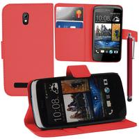 HTC Desire 500/ Dual Sim: Accessoire Etui portefeuille Livre Housse Coque Pochette support vidéo cuir PU + Stylet - ROUGE
