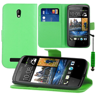 HTC Desire 500/ Dual Sim: Accessoire Etui portefeuille Livre Housse Coque Pochette support vidéo cuir PU + mini Stylet - VERT