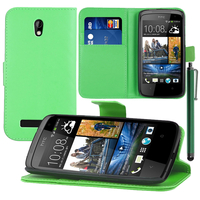 HTC Desire 500/ Dual Sim: Accessoire Etui portefeuille Livre Housse Coque Pochette support vidéo cuir PU + Stylet - VERT