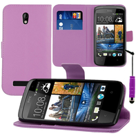 HTC Desire 500/ Dual Sim: Accessoire Etui portefeuille Livre Housse Coque Pochette support vidéo cuir PU + mini Stylet - VIOLET