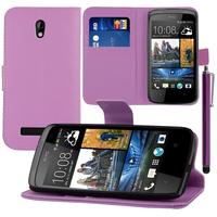 HTC Desire 500/ Dual Sim: Accessoire Etui portefeuille Livre Housse Coque Pochette support vidéo cuir PU + Stylet - VIOLET