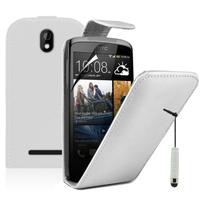 HTC Desire 500/ Dual Sim: Accessoire Etui Housse Coque Pochette simili cuir + mini Stylet - BLANC