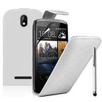 HTC Desire 500/ Dual Sim: Accessoire Etui Housse Coque Pochette simili cuir + Stylet - BLANC