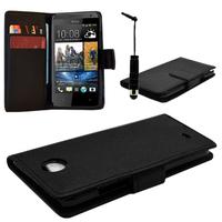 HTC Desire 601 Zara/ Dual Sim: Accessoire Etui portefeuille Livre Housse Coque Pochette cuir PU + mini Stylet - NOIR