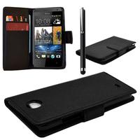 HTC Desire 601 Zara/ Dual Sim: Accessoire Etui portefeuille Livre Housse Coque Pochette cuir PU + Stylet - NOIR