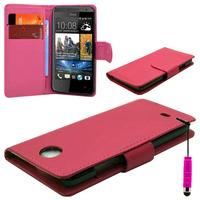 HTC Desire 601 Zara/ Dual Sim: Accessoire Etui portefeuille Livre Housse Coque Pochette cuir PU + mini Stylet - ROSE