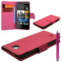 HTC Desire 601 Zara/ Dual Sim: Accessoire Etui portefeuille Livre Housse Coque Pochette cuir PU + Stylet - ROSE