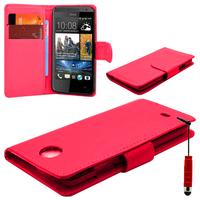 HTC Desire 601 Zara/ Dual Sim: Accessoire Etui portefeuille Livre Housse Coque Pochette cuir PU + mini Stylet - ROUGE