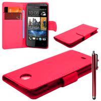 HTC Desire 601 Zara/ Dual Sim: Accessoire Etui portefeuille Livre Housse Coque Pochette cuir PU + Stylet - ROUGE
