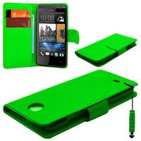 HTC Desire 601 Zara/ Dual Sim: Accessoire Etui portefeuille Livre Housse Coque Pochette cuir PU + mini Stylet - VERT