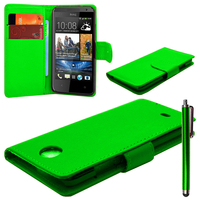 HTC Desire 601 Zara/ Dual Sim: Accessoire Etui portefeuille Livre Housse Coque Pochette cuir PU + Stylet - VERT