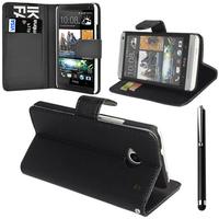 HTC Desire 601 Zara/ Dual Sim: Accessoire Etui portefeuille Livre Housse Coque Pochette support vidéo cuir PU + Stylet - NOIR