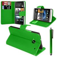 HTC Desire 601 Zara/ Dual Sim: Accessoire Etui portefeuille Livre Housse Coque Pochette support vidéo cuir PU + Stylet - VERT