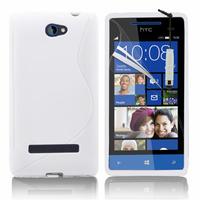 HTC Windows Phone 8S: Accessoire Housse Etui Pochette Coque S silicone gel + mini Stylet - BLANC