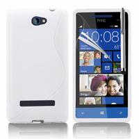 HTC Windows Phone 8S: Accessoire Housse Etui Pochette Coque S silicone gel + Stylet - BLANC